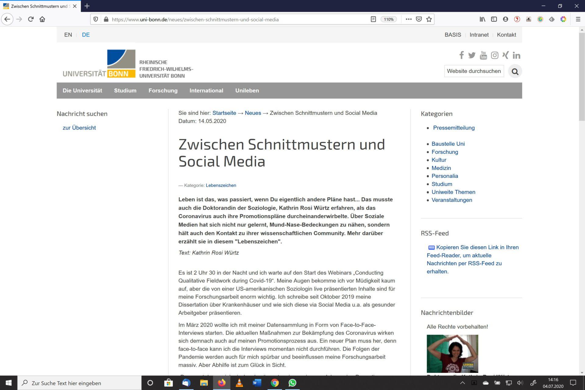 Screenshot vom Beitrag Lebenszeichen Von Schnittmustern und Social Media
